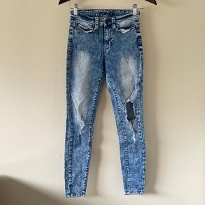 Rue 21 Destroyed skinny jeans in snow wash